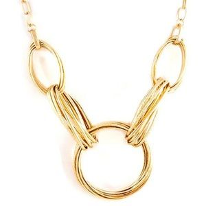 Gold Circle Link Statement Necklace,NWT